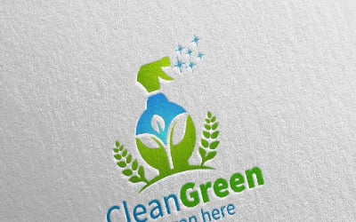 Cleaning Service with Eco Friendly 21 Logo Template