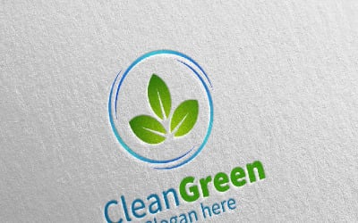 Cleaning Service with Eco Friendly 23 Logo Template