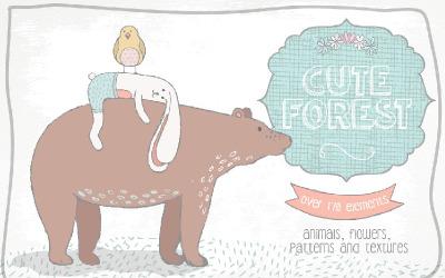 Roztomilý lesní kolekce - ilustrace