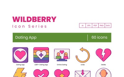 60 Dating App Icons - Wildberry Series Set