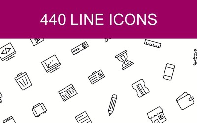 440 Line Icons in 14 Different Categories. Set
