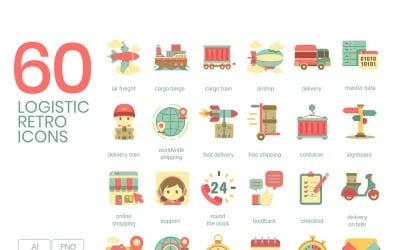 60 Logistics Icons - Retro Series Set