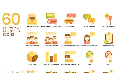 60 Survey _ Feedback Icons - Caramel Series Set