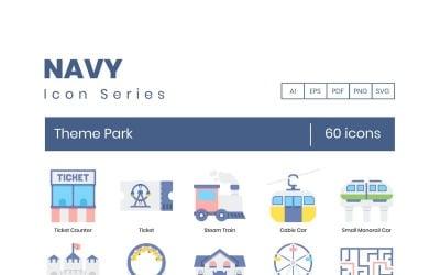 60 Theme Park Icons - Navy Series Set