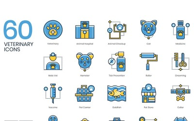 60 Veterinary Icons - Kinetic Series Set