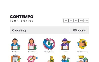 60 Cleaning Icons - Contempo Series Set