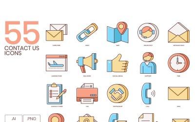 55 Contact Us Icons - Honey Series Set