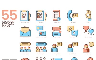 55 Customer Feedback Icons - Honey Series Set