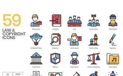 59 Law _ Copyright Icons Set