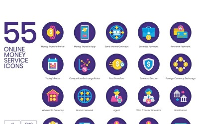 55 Online Money Service Icons - Orchid Series Set