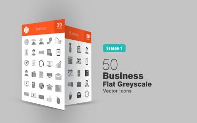 50 Business Flat Greyscale Icon Set