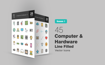 45 Computer & Hardware Icon Set
