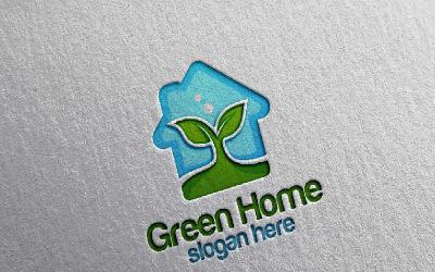 Green Home 13 Logo Template