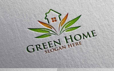 Green Home 9 Logo Template