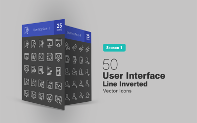50 User Interface Line Inverted Icon Set