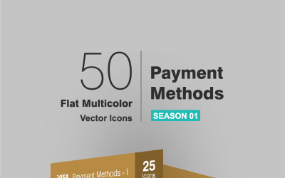 50 Payment Methods Flat Multicolor Icon Set