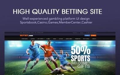 Teljes szerencsejáték webhely felhasználói felület-tervezés PSD sablon