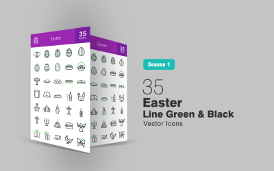 35 línea de Pascua verde y negro conjunto de iconos