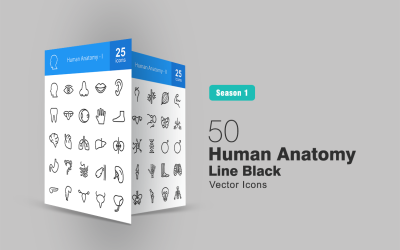 50 Human Anatomy Line Icon Set