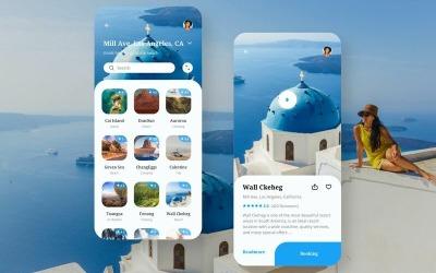 Utazási alkalmazás felhasználói felület vázlat sablon