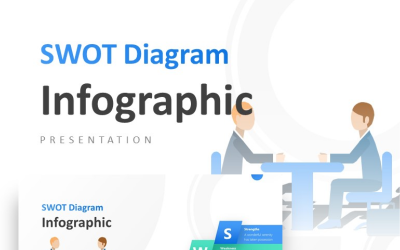 Creative SWOT Diagram with Business Presentation PowerPoint Template