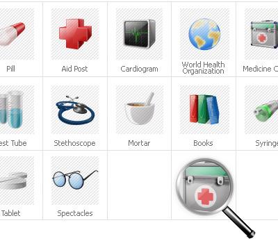 Icon-Sammlung Vorlage für Medizin