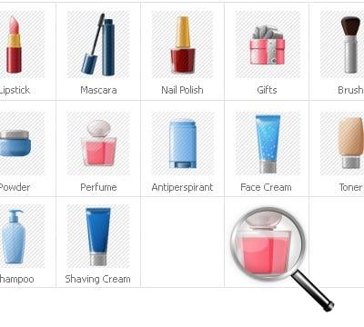 Icon-Sammlung Vorlage für Kosmetik-Geschäft