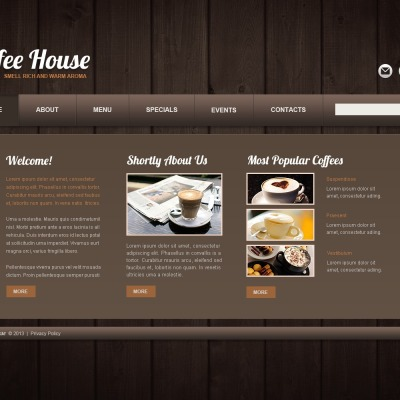 coffee shop website templates. Black Bedroom Furniture Sets. Home Design Ideas