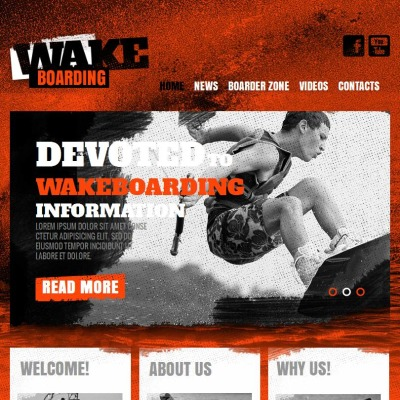Szablon Facebook HTML CMS #46617 na temat: wakeboarding