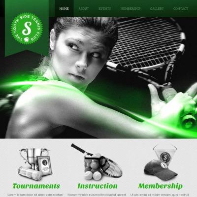 Szablon Facebook HTML CMS #47046 na temat: tenis