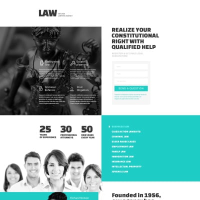 Law Firm Responsive Landing Page Template #53359