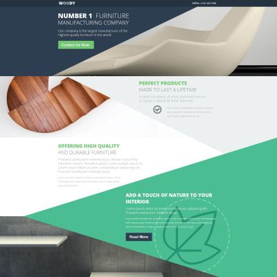 Responsives Landing Page Template für Innenausstattung und Möbel
