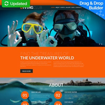 Diving Responsive Moto CMS 3 Template