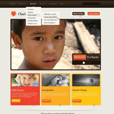 Plantilla PSD #57109 para Sitio de Caridad para niños