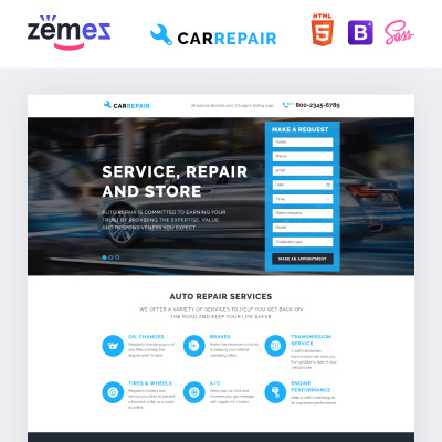 Car Repair Responsive Landing Page Template 58068 – Car Ad Template