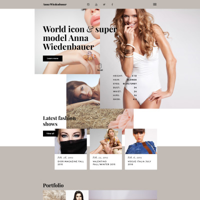 Model Portfolio Website Template. ombre model agency fashion html ...