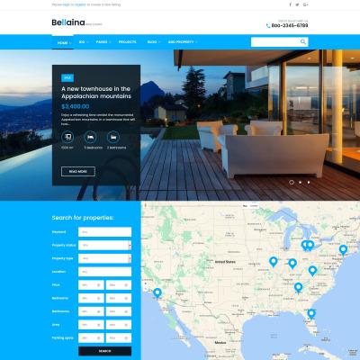 Thème WordPress adaptatif  pour site d'immobilier