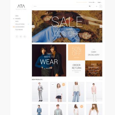 Адаптивный Magento тема №58878 на тему магазин одежды