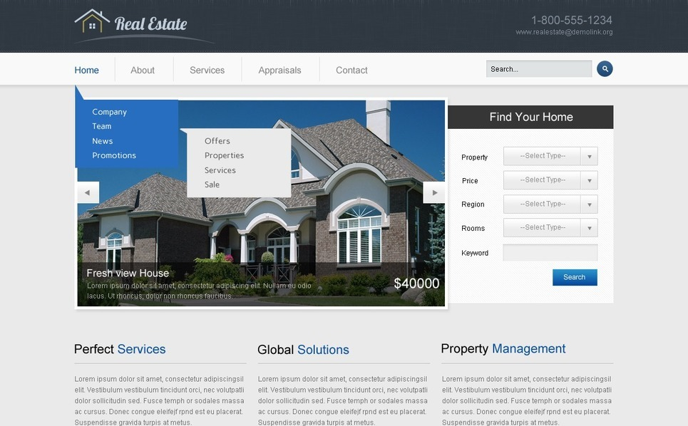 Ingatlanügynökségi  Weboldal sablon New Screenshots BIG