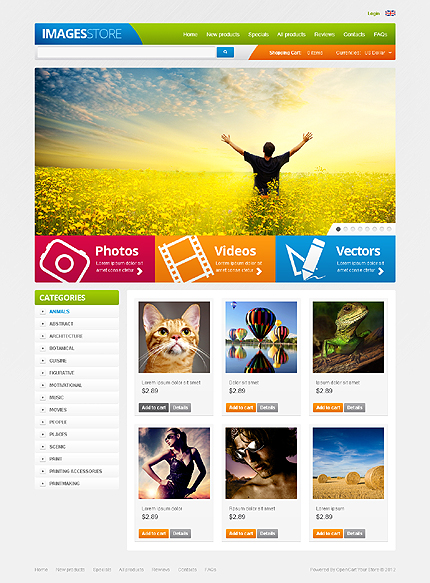 ZenCart Template 40111 Main Page Screenshot