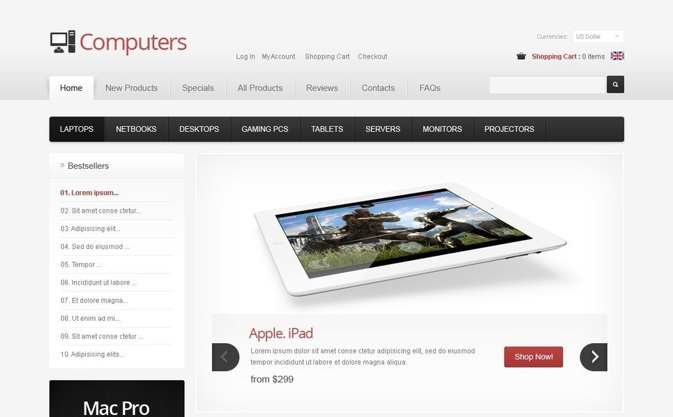 Szablon ZenCart #40112 na temat: sklep komputerowy New Screenshots BIG