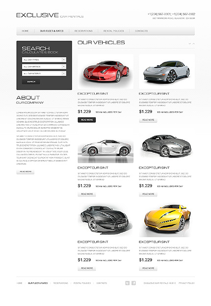 Template 40140 ( Our Fleet & Rates Page ) ADOBE Photoshop Screenshot