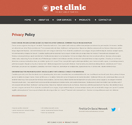 Template 40167 ( Privacy Policy Page ) ADOBE Photoshop Screenshot
