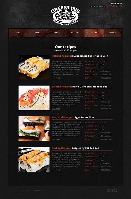 Template 40171 ( Recipes Page ) ADOBE Photoshop Screenshot