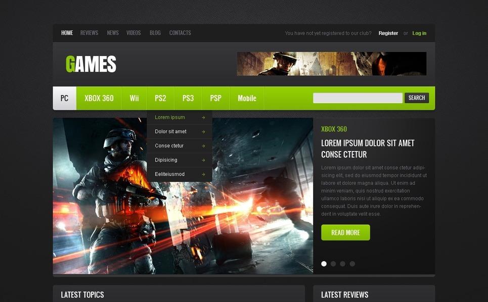 Modello Siti Web  #40172 per Un Sito di Portale di Giochi New Screenshots BIG