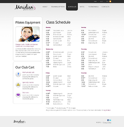 Template 40187 ( Schedules Page ) ADOBE Photoshop Screenshot