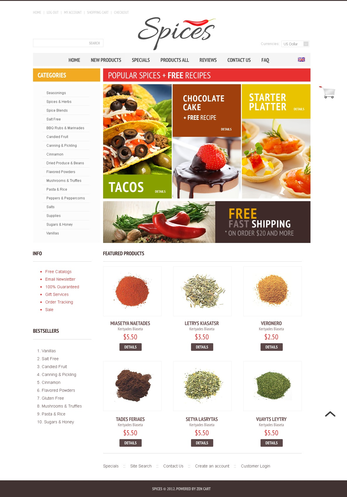 Exotic Spices Template ZenCart №40108