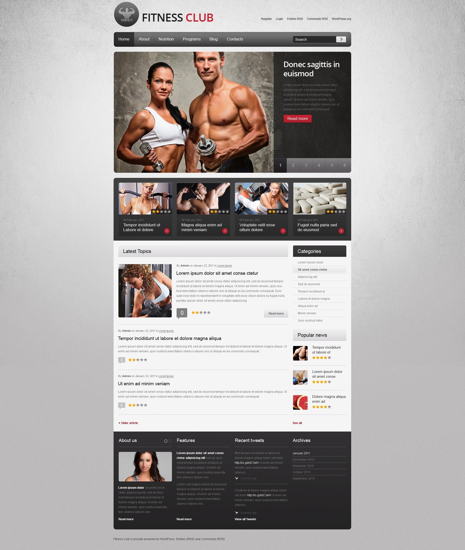 Fitness WordPress Theme #40183