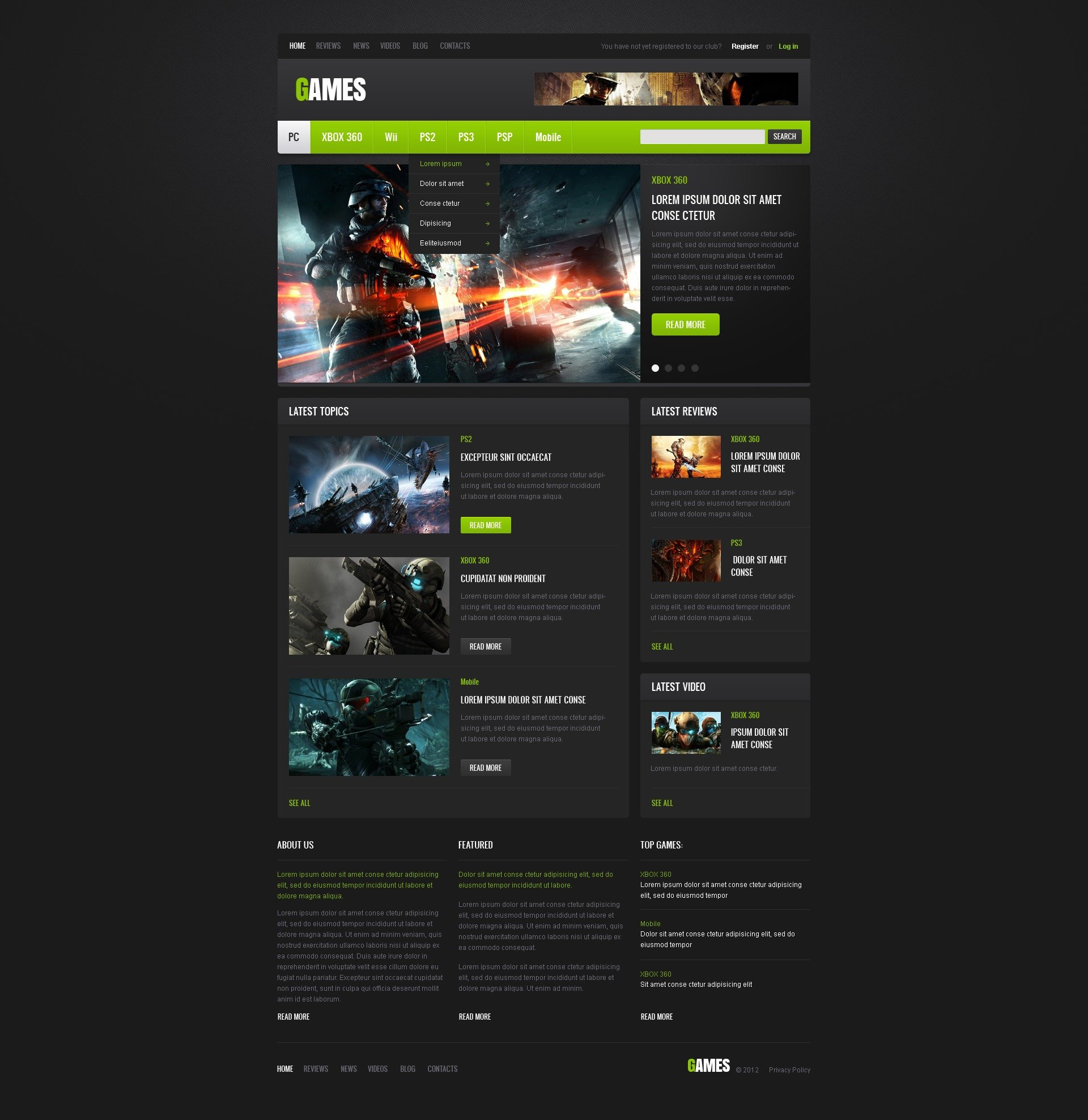 Best Games Website Templates - Gaming website template