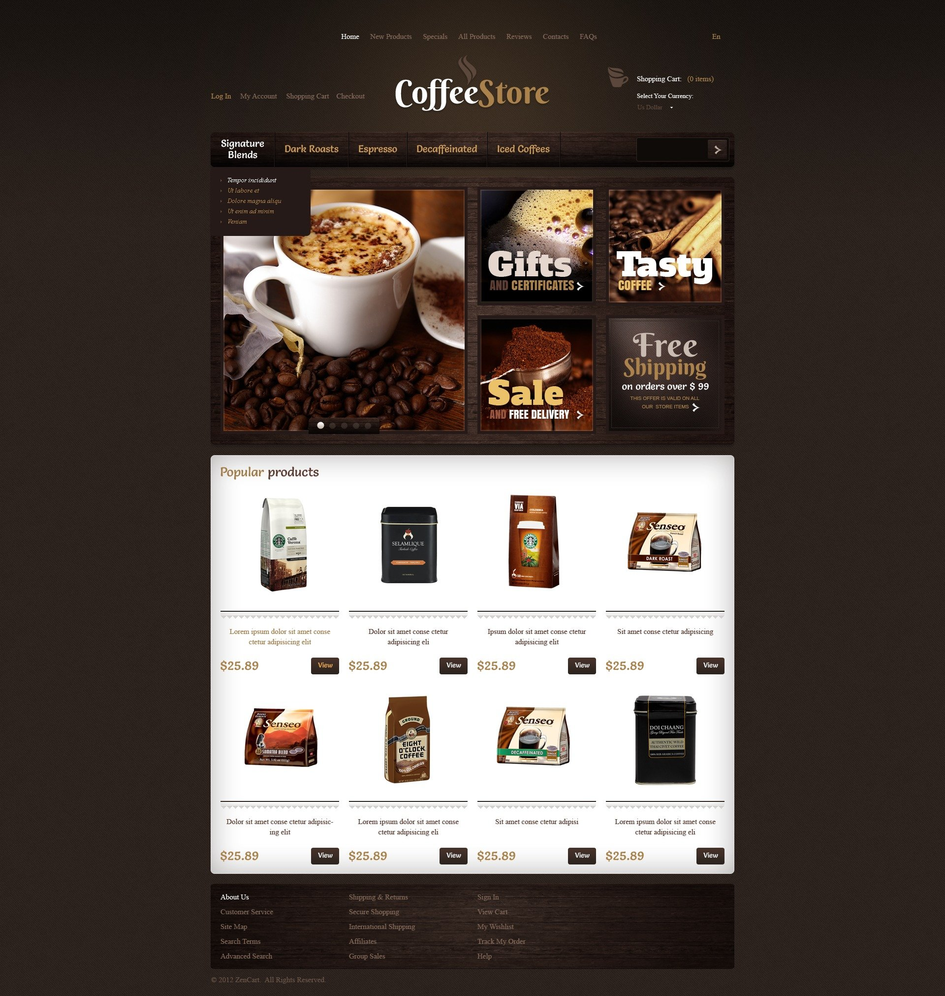 Quality Coffee ZenCart Template - screenshot